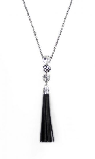 checked-blk-tassle-drop-necklace
