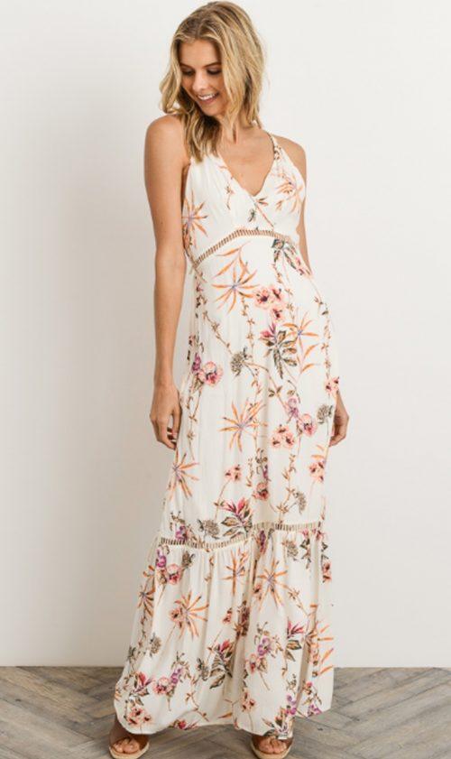 20e2840a46 Floral Maxi Dress with Vneck Halter Top