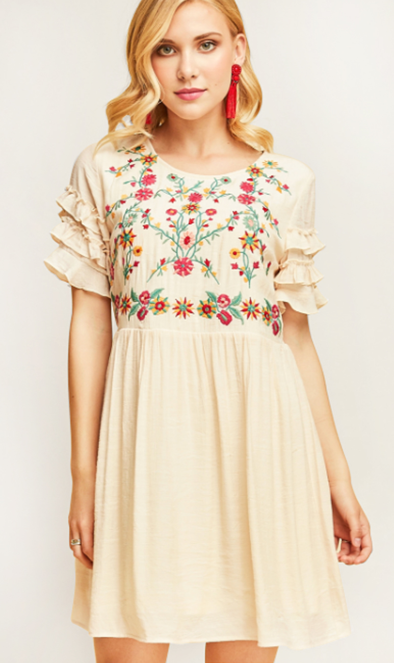 Embroidered Babydoll Dress with Ruffle Sleeve – 510 Threads Fashion Boutique 5811047df